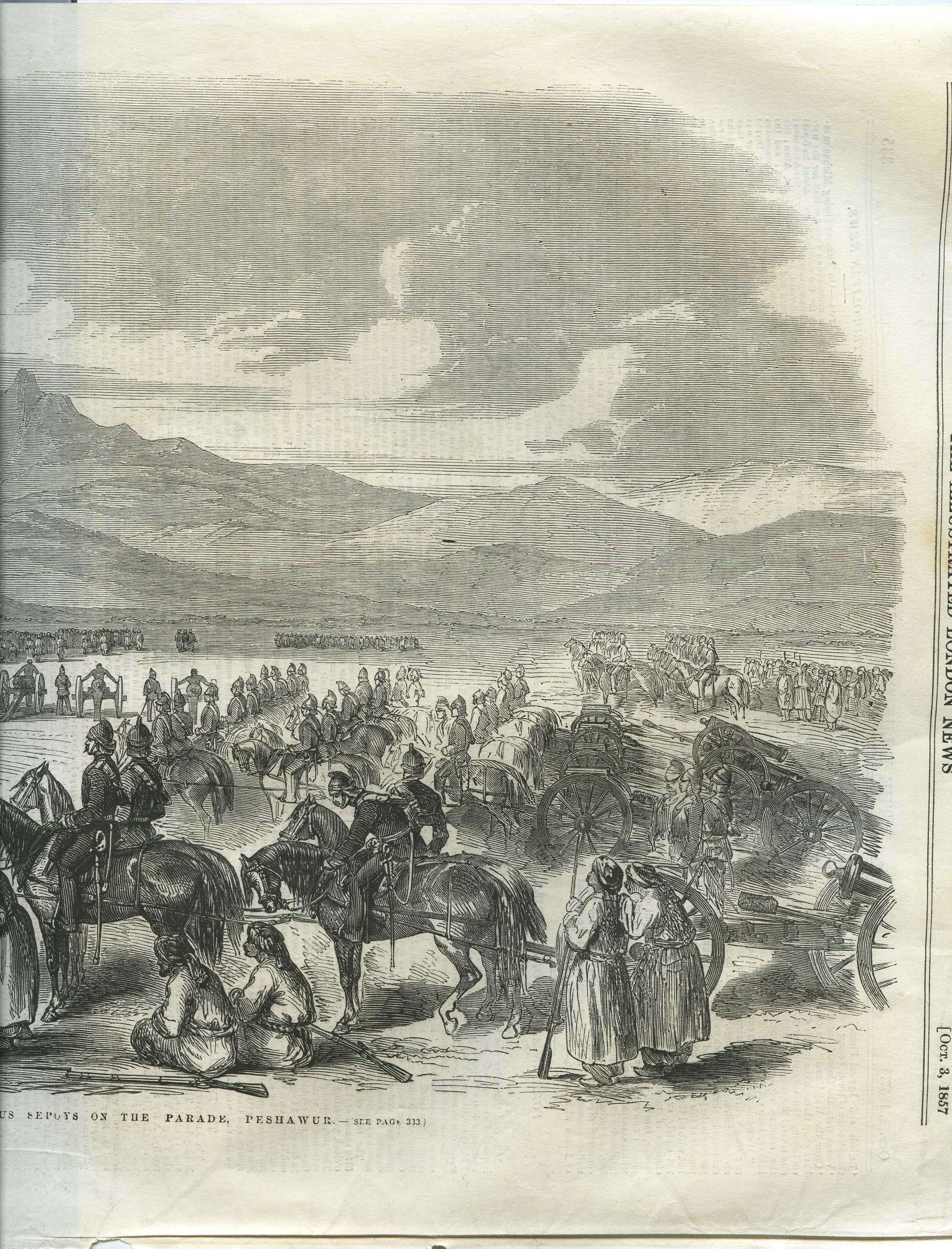 """Execution of mutinous sepoys on the Parade, Peshawur,"""" from the ..."""